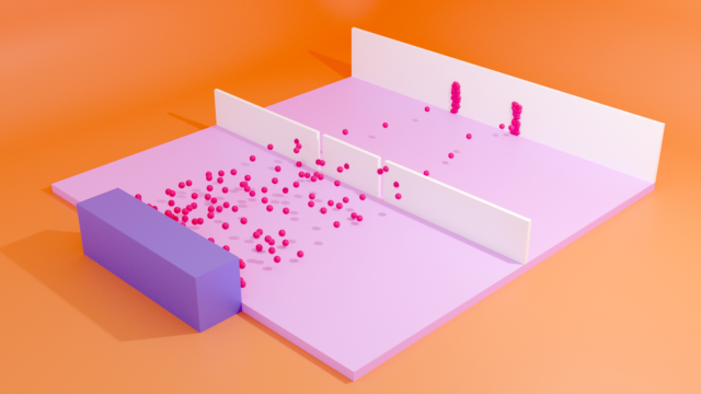 3D illustration of particles going through double slit