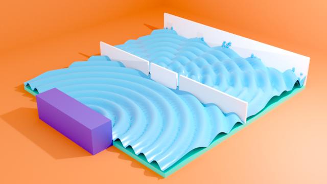 Double slit experiment 3D diagram
